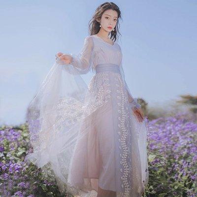 6650實拍莫内的睡蓮莫蘭迪紫重工刺繡長連衣裙