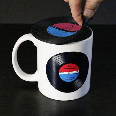 唱片造型矽膠隔熱杯墊/杯蓋(一組2入)...