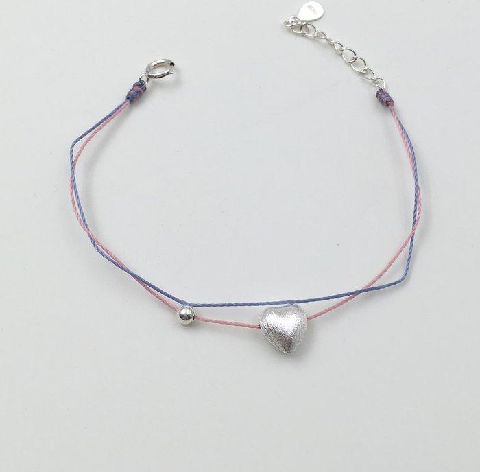 [Le Bonheur Line] 幸福線 手工/ 雙線款 925純銀 愛心 銀珠 / 紅線 手鍊 飾品 韓國 日系