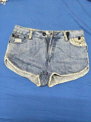 澳洲品牌refuge運動褲造型牛仔短褲豹紋鑲邊性感可愛 尺寸US 8號 UK 14號