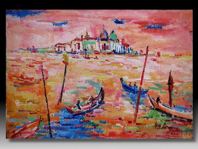 【 金王記拍寶網 】U1498  廖繼春款 手繪厚麻布油畫一張 海景 ~ 罕見稀少 藝術無價~