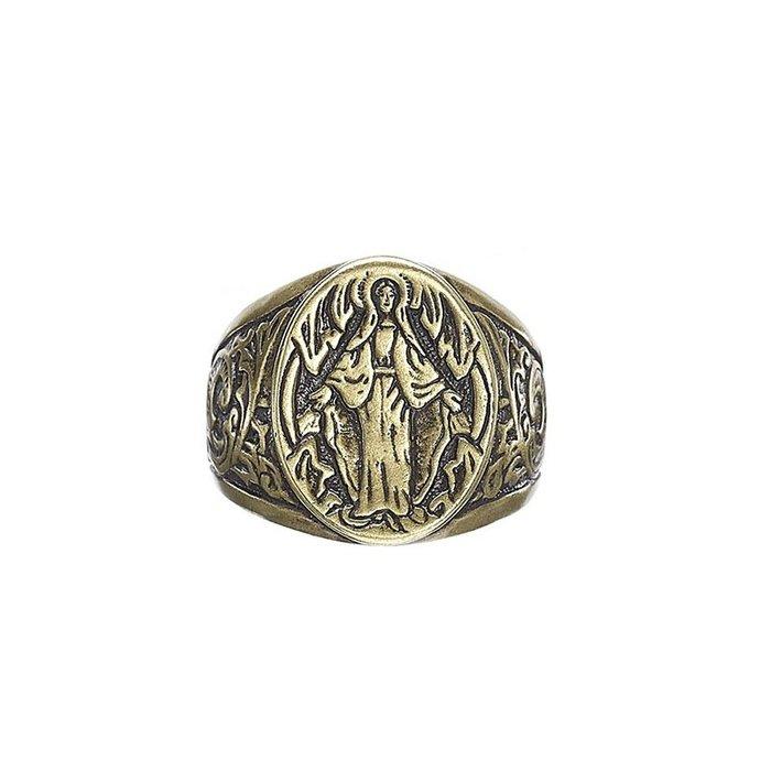 藤原本鋪 SOLO Carved Mother of God Ring 雕花聖母戒 古銅
