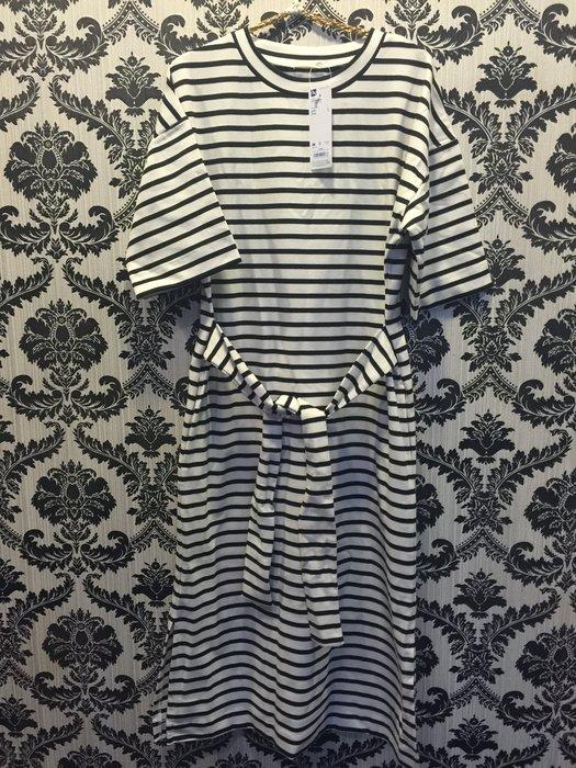 ☀APPLE SHOP☀ 日本GU 條紋休閒連身綁帶洋裝