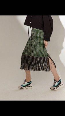 韓國設計師真品主打款綠藍流蘇tweed 軟呢毛料裙