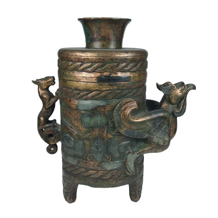 《博古珍藏》漢.和闐碧玉鎏金雕鳳首瑞獸蓋罐.3.21公斤.老件文物.早期收藏.行家勿錯過.底價回饋.可刷卡分期