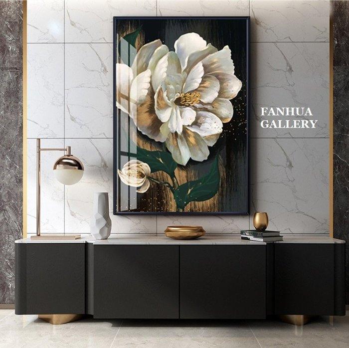 C - R - A - Z - Y - T - O - W - N 高貴白色花卉掛畫當代藝術大幅掛畫酒店玄關客廳壁畫