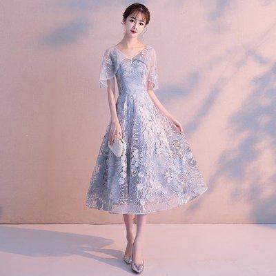 日和生活館 氣質晚禮服裙女宴會高貴優雅V領短版顯瘦洋裝名媛小禮服S686