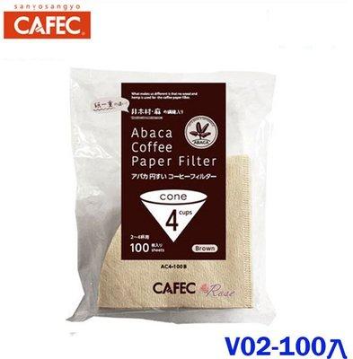 【ROSE 玫瑰咖啡館】CAFEC AC4-100B   V02圓錐咖啡濾紙1-4人 100入無漂白 日本製