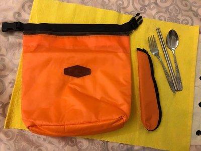 ✨牛津布摺疊手提 保溫袋 保鮮袋 野餐袋 午餐袋 便當袋 鋁箔加厚款 + 環保餐具(筷子+湯匙+叉子) 橘色