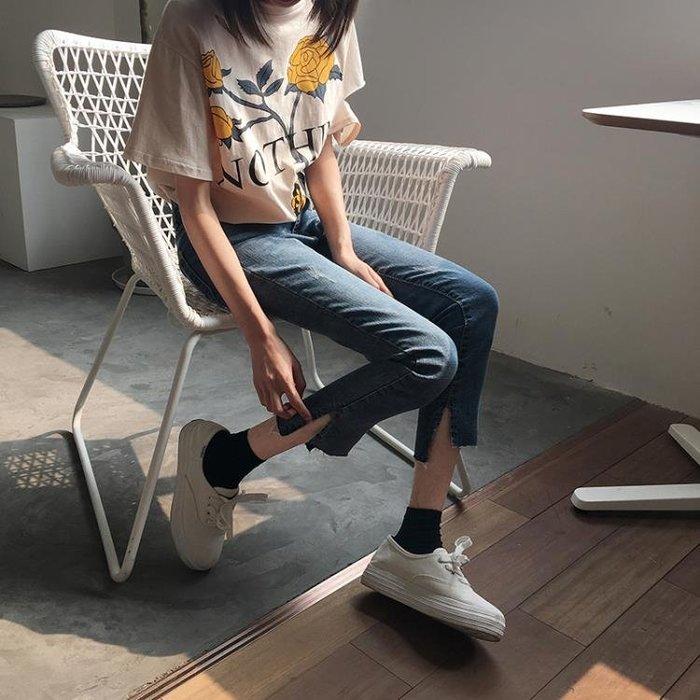 彈力修身高腰牛仔褲女夏韓版新款百搭學生緊身開叉小腳鉛筆褲