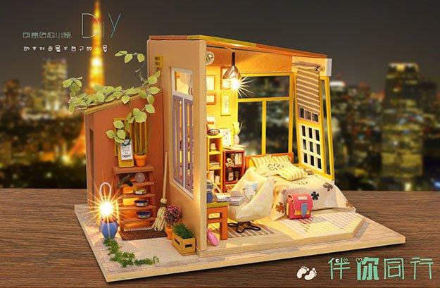 【批貨達人】伴你同行 手工拼裝 手作DIY小屋袖珍屋 帶防塵罩 迷你屋 創意小物生日禮物