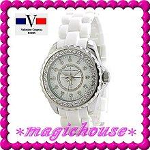 *夢幻精品屋*【可刷卡↘1000】范倫鐵諾高精密陶瓷《J12款式切割鏡面女鑽錶》白-現貨搶購中!