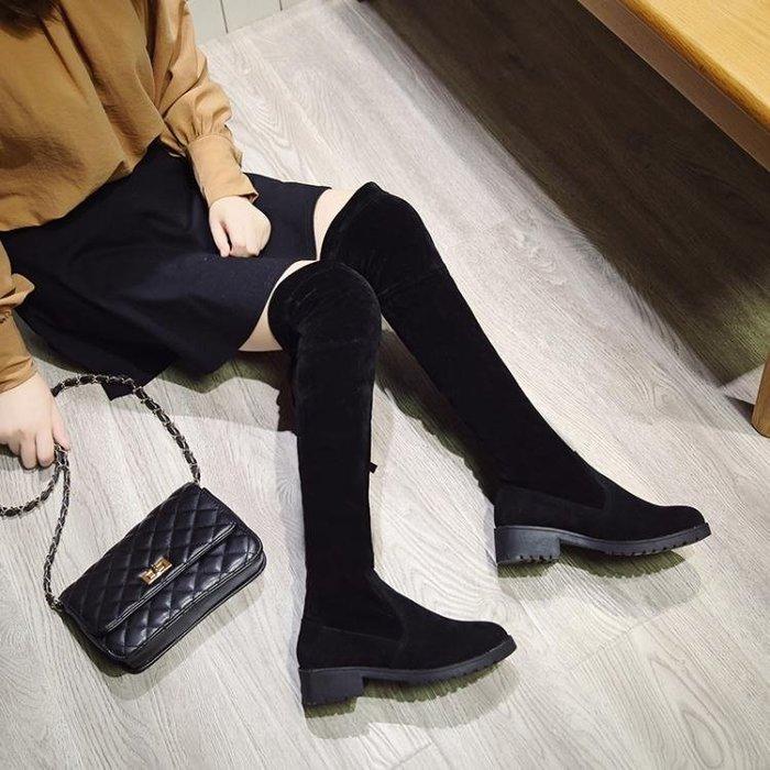 ins長筒靴女原宿百搭學院風彈力靴粗跟顯瘦彈力靴簡約韓版過膝靴