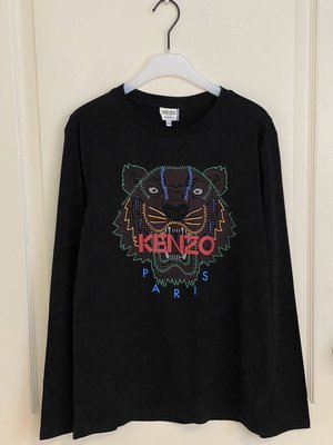 全新 Kenzo  Tiger logo-print top 黑色 14A  現貨