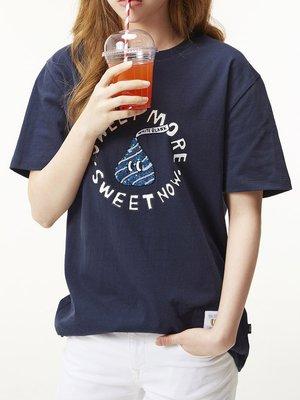 ☆AirRoom☆【現貨】WHITE BLANK Sweet More Spangle Tee 深藍 短袖 巧克力