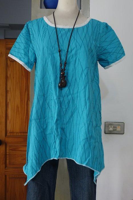 [C.M.平價精品館]2XL碼現貨/好穿藍色滾繡花白領不規則下襬短袖上衣