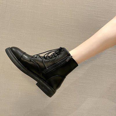 保暖女鞋 機車靴 馬丁靴 時尚百搭冬季百搭短靴黑色帥氣拉鏈機車靴英倫風平底馬丁靴女