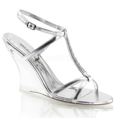Shoes InStyle《四吋》美國品牌 FABULICIOUS 原廠正品水鑚透明金屬質感楔型高跟涼鞋 出清『銀色』