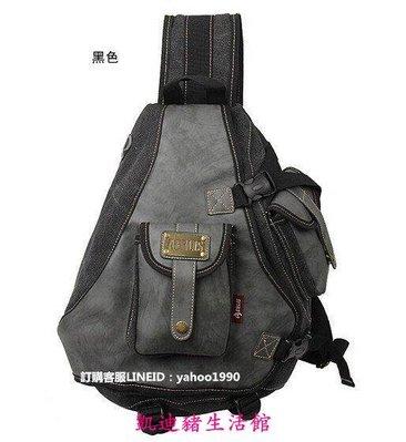【凱迪豬生活館】新款 韓版男士運動復古帆布包 大單肩包斜挎包 男胸前胸包 斜背側肩背包3色$$KTZ-200936