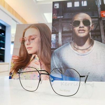Paul Hueman 韓國熱銷品牌 英倫街頭時尚 黑色多邊形金屬大框眼鏡 復古時尚 展現獨特自我風格 PHF377D 377