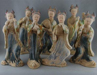 老藏家二手古文物托拍~~唐三彩美人樂俑七件套雕塑瓷像   收藏古玩古董