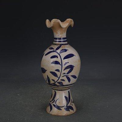 【三顧茅廬】唐青花邢窯手工瓷花口瓶賞瓶 出土古瓷器古玩古董收藏擺件