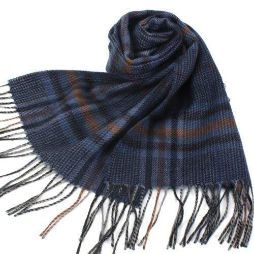 【姐只賣真貨】S.T.Dupont 羊駝毛混紗典雅格紋圍巾(咖啡紅/藍色)