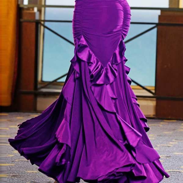 5Cgo【鴿樓】會員20917971327國標舞裙新款 廣場舞服裝交誼舞大擺裙新款練習裙比賽舞裙半身裙-只有裙子