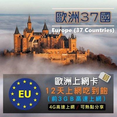 現貨免設定!歐洲上網卡12天3GB吃到飽高速漫遊卡 網路SIM卡 行動上網 英法/德義/荷比/北歐 中歐 南歐 冰島分享