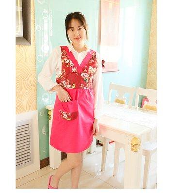 圍裙甜心【04-3】韓服韓式料理烘焙餐廳【紅玫色】【現貨】