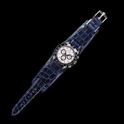 ROLEX&OMEGA&TUDOR手錶100%手工鱷魚皮錶帶(黑色現貨)勞力士直上/116500 貓熊/黑水鬼 /綠水鬼