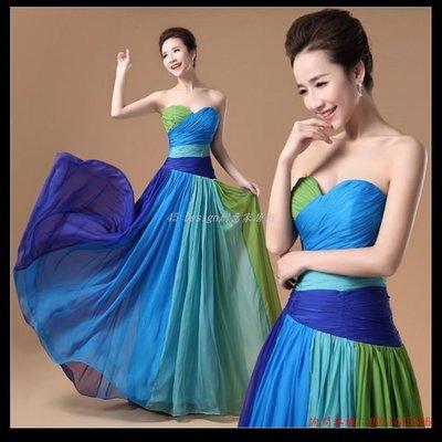 訂做款式7天到貨 新娘禮服伴娘服長款禮服時尚撞色紅毯年會演出歐美範禮服