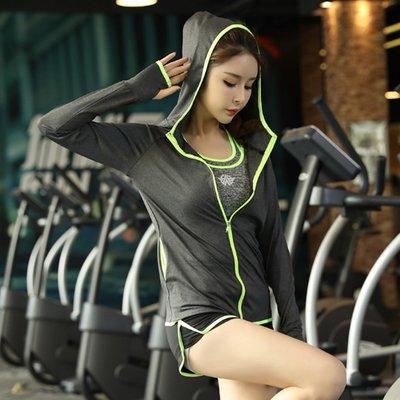 【綠色運動】2017新款 女士夏季運動健身服三件套裝 瑜伽服 文胸背心外套短褲套裝 跑步健身衣 透氣速幹 預定款 帕