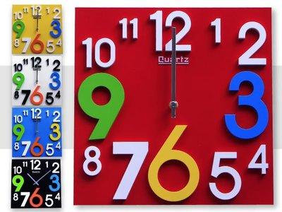 創意時鐘 掛鐘/時鐘 兒童立體彩色數字時鐘 方款 顯示光陰刻度 靜音走針 ☆匠子工坊☆【UC0030】