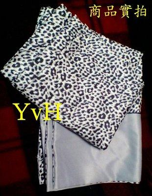 ==YvH==PillowCase 台灣製絲棉交織 豹紋+銀灰絲緞 信封型薄枕套一個 台灣製造精品(現貨)