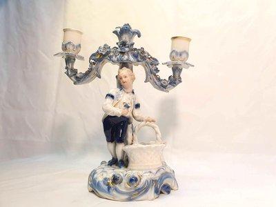 { Ruminant 慕名古物 } 18世紀德國Meissen麥森AR小紳士籃子燭台