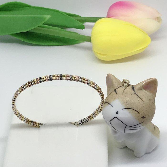 *金色風暴*~ 義大利585K金 ~雙排三色刻花珠珠手環 ~ 造型,14k手鏈,不褪色,送禮,女生最愛,
