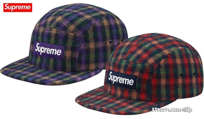 【超搶手】全新正品2015 秋冬Supreme Wool Plaid Camp Cap 厚感羊毛 五分割帽 深藍 紫色