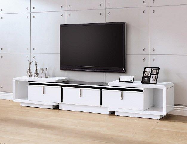 ~維基白色8.3~9.6尺伸縮電視櫃18155A355-01~巧匠家具批發廣場~