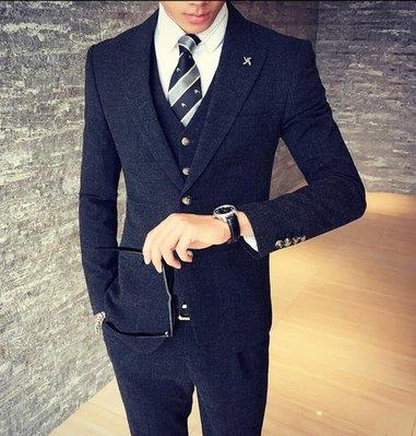 FINDSENSE品牌 韓國男 基本款 紳士西裝外套穿搭 三件式套裝 成套西裝 西裝修身 外套+背心+褲子