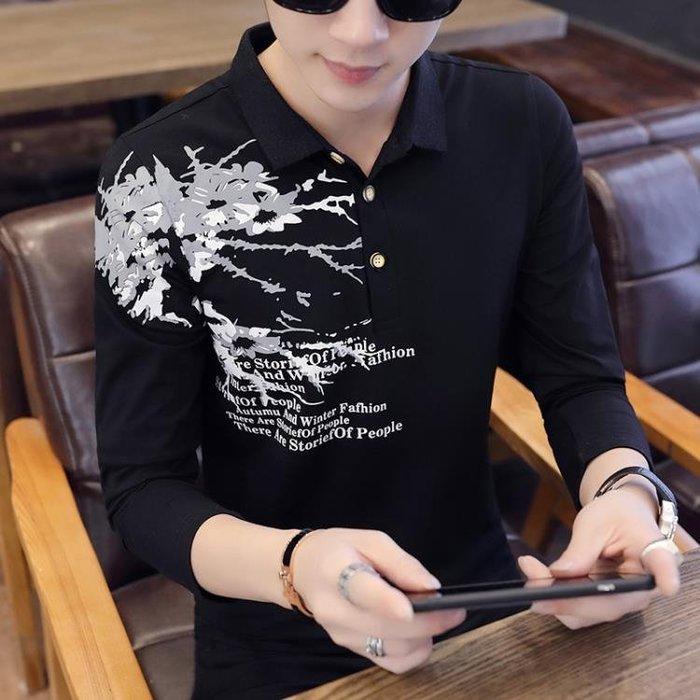 男士長袖T恤韓版潮流有領印花POLO衫長袖男裝個性上衣服