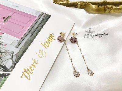 【海星 Starfish】|925銀針|晚宴美人款 乾燥花質感袖珍珍珠流蘇款(淺粉紫色)