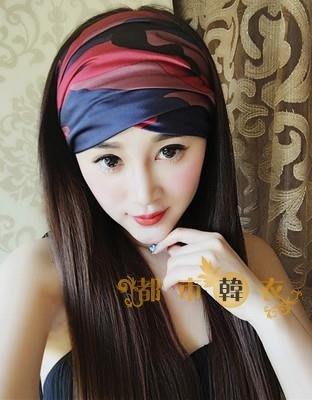 頭巾新款歐美大牌潮款迷彩寬發飾頭巾女 休閒遮蓋頭髮發帶脖套   全館免運