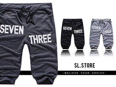 SL Store【SC609】英文字設計印花抽繩休閒棉褲七分褲.黑/深灰/淺灰/M/L/XL