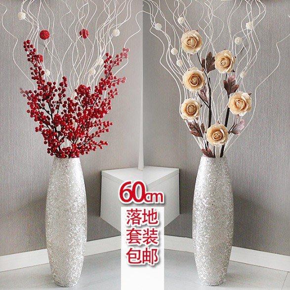 假花瓶 假花 仿真花 花器 花盆 玻璃 年花60厘米玻璃大花瓶手工仿真花套裝 簡約現代干花花藝落地花瓶