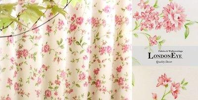 【LondonEYE】甜美英國鄉村風 進口優質純棉印花布(CTF1203)‧嫩粉紅/紫紅‧人氣熱賣款