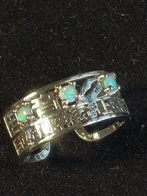 925銀鑲 3粒 3mm天然Opal石戒子