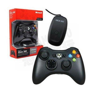 XBOX360 原廠無線控制器含無線接收器 PC可用手把 把手 搖桿(黑色)【台中恐龍電玩】