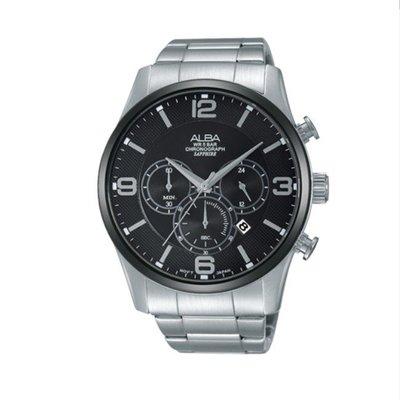 可議價「1958鐘錶城」ALBA雅柏 PRODUCT 男 三眼計時 石英腕錶(AT3823X1) 45mm