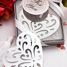 『Truelove珍愛一世  歐美進口禮品批發』╭☆  不鏽鋼花雕心型書籤 ☆╮特價中!